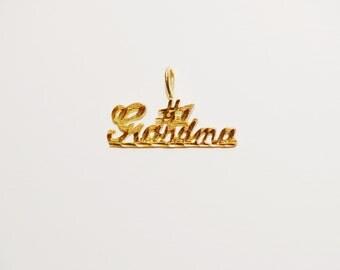"Free Shipping 14k yellow gold 1980's  ""# 1 Grandma"" Pendant."