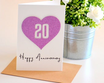 20th Anniversary Card, Wedding Anniversary Gift, 20 Year Anniversary, Personalized Gift for Couple, Wife Gift, Gift for Husband, Love Card