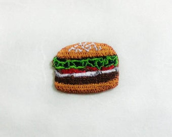 Burger Iron on Patch(S1) - Burger Applique Embroidered Iron on Patch- Size 2.8x2.3 cm(BP)