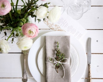 Grey Linen Dinner Cloth Napkins set of 6