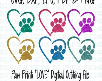 Paw Print and Heart SVG Cut File, Digital Designs Clipart Cutting files for Silhouette, Cricut Cuttable Dog Paw Print with Heart
