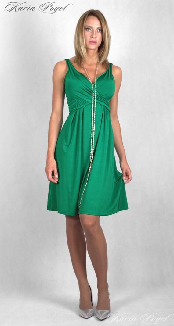 Green Bridesmaid Dress / Stretch Cocktail Dress / Green Evening Dress / Sleeveless Dress / KARIN # 12-034-01-558-00