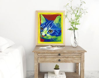 Cat Pop Art - Veterinarian Gift - Cat art print - Cat Print - Cat Wall Art - Cat Gift - Office Decor - Animal Art - Pop Art Decor - Cat Art