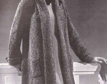 PDF Knit Swagger Coat Vintage Knitting Pattern Instant Download Size 16-18