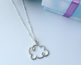 Cloud necklace, sterling silver necklace, christmas gift