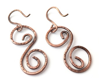 Double Copper Spiral Hammered Texture, Earrings, Handmade, Earthy By Design Jewelry, Artisan Design Metalwork