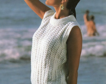 Ladies knitting pattern - lacy sleeveless top - 28 to 38 inches - summer top