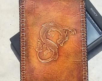 Sony Reader PRS-T2 Leather case / eBook sleeve / 004/ Dragon case / hand stitch & tooled