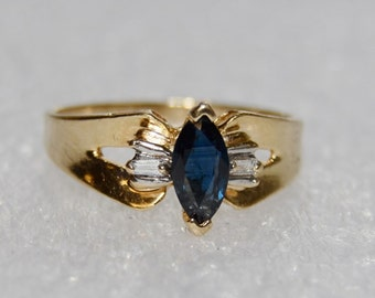 Vintage Septemeber Birthstone - 14k Yellow Gold and Solitaire Marquise Cut Sapphire Ring Size 7 with Diamond accents
