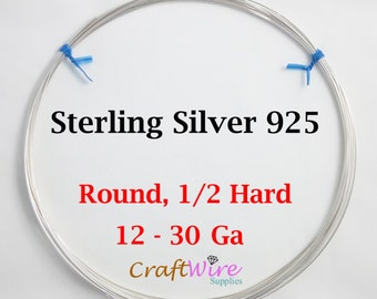 925 Sterling Silver Wire, Round, Half Hard, 12 14 16 18 19 20 21 22 24 26 28 30 Gauge, Jewelry Making Wire, Craft, 1 5 15 25 feet