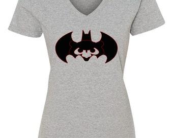 Batman Cubs Ladies T-Shirt, Batman Cubs Shirt, Chicago Cubs Batman Ladies Tee