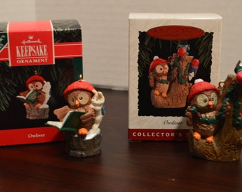 1992 and 1994 Hallmark Keepsake Ornaments - Owliver Series