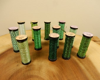 Metallic Threads, Set of 12, Metallic Green, Made in USA, Kreinik, Retro Thread