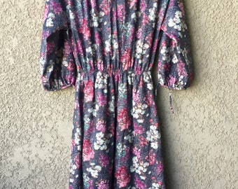 Purple floral dolman sleeve dress