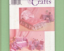 """Simplicity 8158 Barbie Furniture & Covers Craft Sewing Pattern/ Bed, Couch, Dressing Table, Chair Covers, Evening Dress Gown.  11.5"""" doll"""