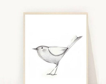 Bird Printable Art, Bird Drawing, Modern Wall Art, Instant download, Bird Art, Digital Art, folksy bird
