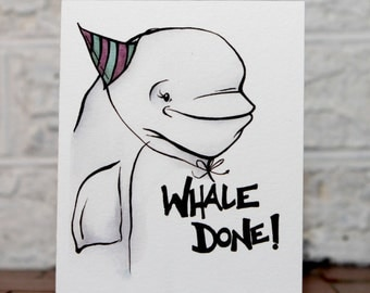 Congratulations Card, Congrats Card, Beluga Card, Funny Congrats, Beluga Whale, Whale Greeting Card, Good Work Card, Funny Good Job