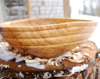 Wooden Bowl for Salad, Fruit, or display - hand turned from spalted Elm - finished with mineral oil and beeswax