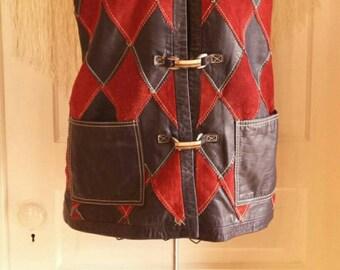VINTAGE 70s leather patchwork vest / boho festival Burning Man