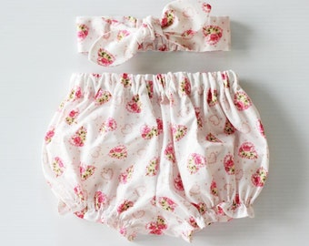 Hearts and Roses, Baby Bloomers and Headband Set, baby girl headband, baby bloomers, baby knot headband, bloomers set, baby girl bloomers