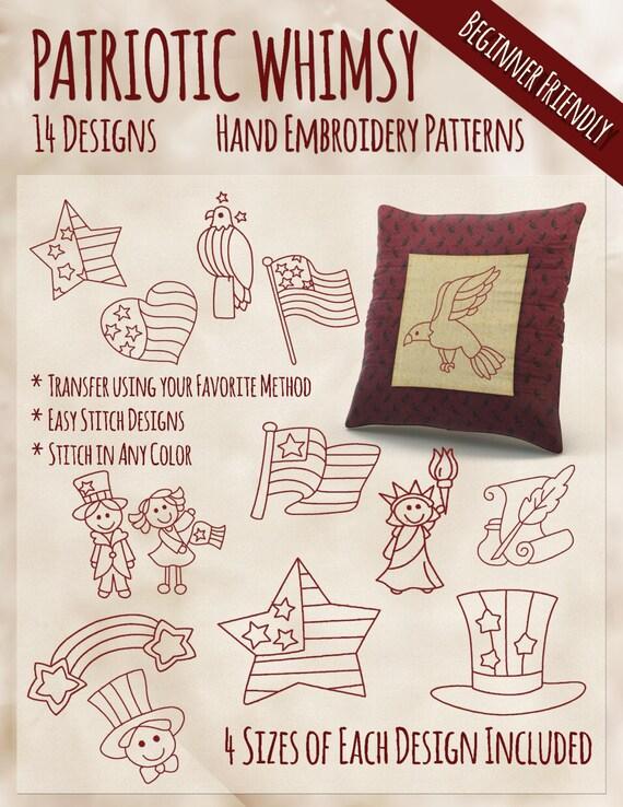 Sale hand embroidery patterns redwork designs patriotic