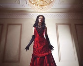 Silk Taffeta Gothic Victorian Bustle Gown ~ Vampire Ball Masquerade Halloween Black Wedding Dress ~ Steampunk 19th century Period Costume