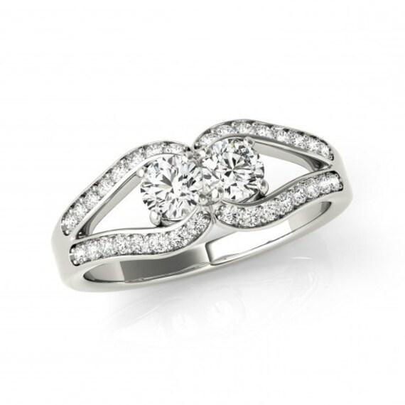 1 carat forever one moissanite love knot engagement ring