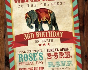 Circus Birthday Party Invitation, Circus-Themed Birthday Invitation, Circus Birthday Invitation #002
