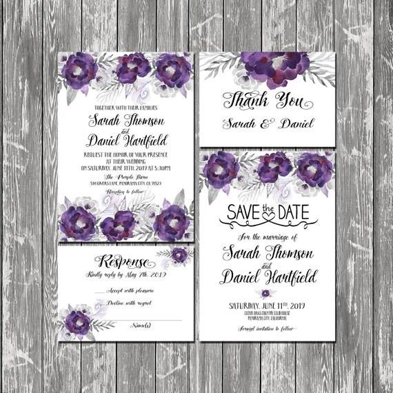 Purple And Silver Wedding Invitations: Printable Wedding Invitation Floral Purple And Silver Wedding