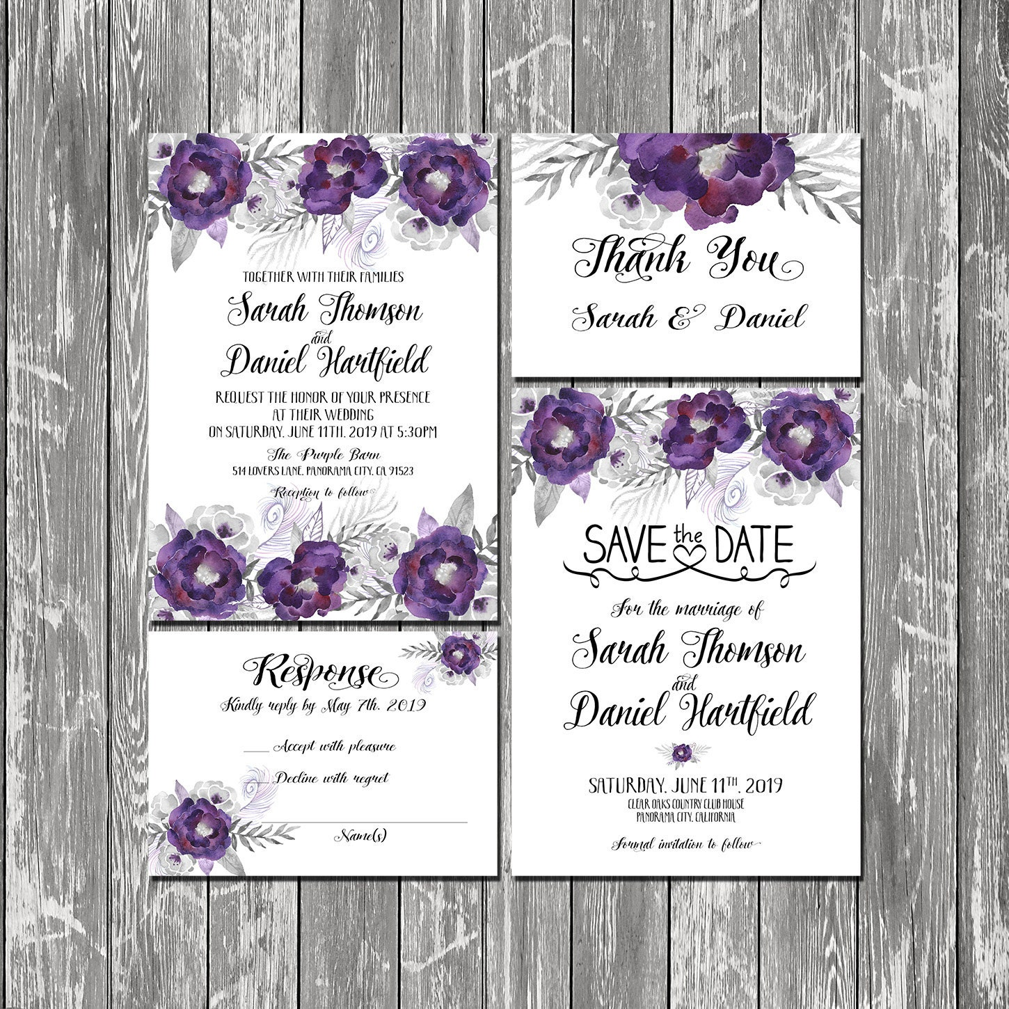 Silver And Purple Blank Invitations: Printable Wedding Invitation Floral Purple And Silver Wedding