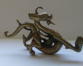 Dragon Solid Brass Dragon Statue Large Brass Dragon Figurine Vintage Dragon Decor