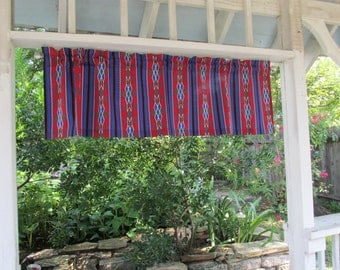 Tribal Print Valance, Tribal Print Curtain, Home Decor, Home Decoration, Red Blue Black Tribal Print Abstract Tribal Pattern Shapes Curtain