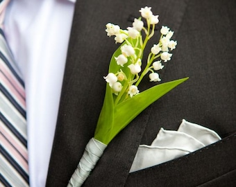 Wedding Accessories - Wedding Buttonhole - Bridal Corsage - Cold Porcelain Flower - Handmade Buttonhole - Lily of the valley Buttonhole