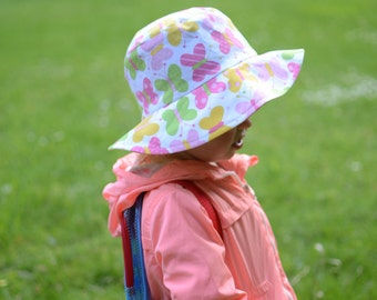 Cotton Girls Hat, Toddler Girls Sun Hat, Butterflies Sun Hat, Girls Brim Summer Hat, Girls Cotton Sun Hat, Toddler Girls Beach Hat