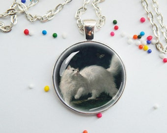 White cat necklace - vintage painting - animal jewelry - art necklace - choose necklace or key chain