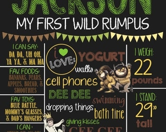 Where The Wild Things Are Theme Birthday Chalkboard Sign- Printable Birthday Chalkboard Poster- Birthday Board- Personalized Custom Sign
