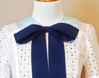 Peter Pan Nautical Sailor Style Detachable Collar, Vintage Inspired Anchor and Navy Bow Removable Collar, Spring/Summer Accessory