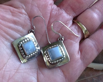 Vintage Moonstone and Silver Dangle Earring~Pierced Earrings~Hallmarked~ Sterling Silver~Genuine Stones~Square Dangle~Vintage Earrings~Retro