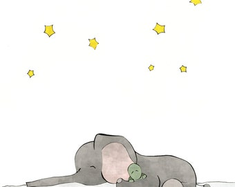 Elephant and Turtle Friends Nursery Art - Stars Drawing, Elephant Kids Room Decor, Grey and Green