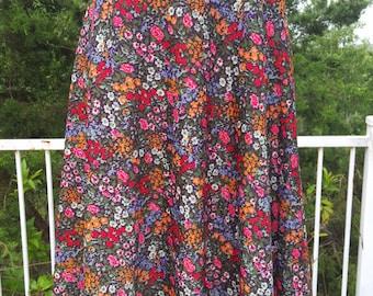 Floral 70's Skirt Boho Skirt
