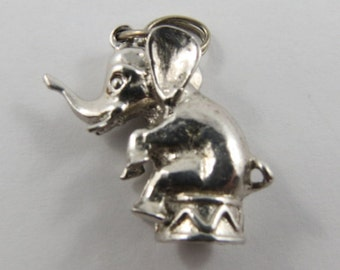 Circus Elephant Sterling Silver Vintage Charm For Bracelet