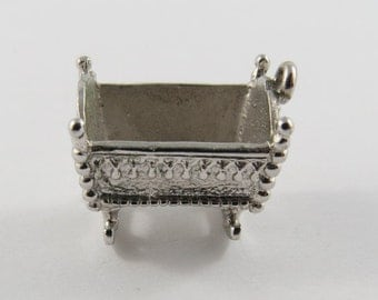 Rocking Cradle Sterling Sterling Silver Vintage Charm For Bracelet