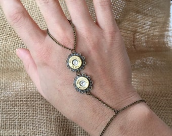 Bullet Slave Bracelet with Two 38 Special Bullet Tops and Swarovski Crystals, Womens jewelry, Upcycled bullets, Bullet jewelry