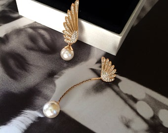 Gold Angel Wing Earring Pearl Diamond Stud Chain Drop Earring Elegant Valentine's Wedding Bridal Bridesmaid Gift Birthday Anniversary