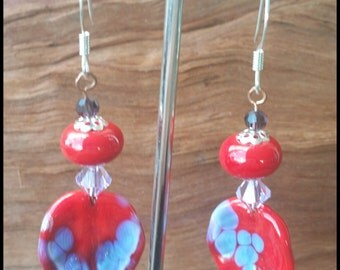 Speckled Red Leaf Earrings
