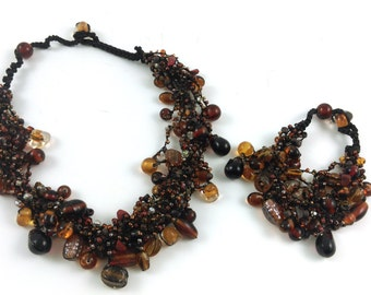 Golden Brown Glass Cluster Bead Necklace and Bracelet Combo (save 15% on buying the combo set)