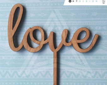 Love script-Wooden Cake Topper for weddings by Acrylic art Design