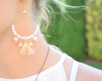 Peach Hoop Earrings / Bohemian Hoop Earrings / Tassel Hoop Earrings / Beaded Earrings / Christmas Gift For Her/ Stocking Stuffers
