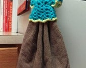 Teal and Yellow Towel Topper - Tan Hand Towel - Blue Kitchen Towel - Yellow Teal and Brown Kitchen Decoration - Doll Dress Towel