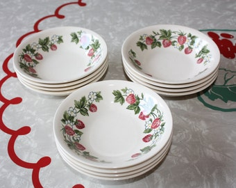 Sweet Strawberry Shenandoah Dessert Bowls: 1 Set of 6 Bowls Available, Vintage Paden City Pottery